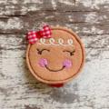 """2"""" Felt Christmas Gingerbread Face Hair Clip"""