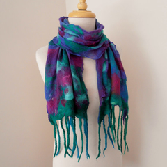 nuno felted cotton gauze scarf by plumfish emerald purple peacock