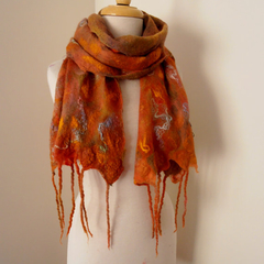 nuno felted cotton gauze scarf by plumfish amber