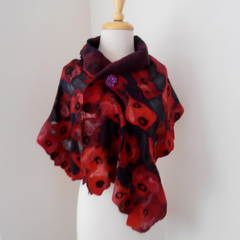Black Red Merino nuno felted silk gauze little scarf by plumfish