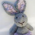 Lucy the Knitted Bunny Rabbit Toy with Pink  Party Skirt with Pompom trim
