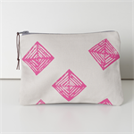 Zipper Pouch, Small zipper purse , Block printed, Geometric design, Phone holder