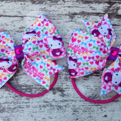 "3.5"" Hello Kitty Bow Hair Ties"