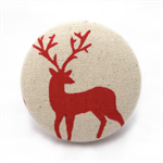 Christmas Red Deer fabric button brooch