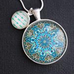 Blue and Green Mandala~ Silver Plate Pendant