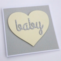 Baby Card - Gender Neutral - Yellow, Grey & Silver Glitter