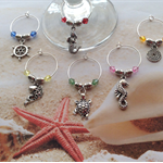 Nautical Wine Glass Charms Colour Bicone Beads and Spacers x Set 6