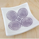 Purple porcelain ring dish, ring holder, ring pillow. Ceramic bowl