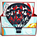RED HOT AIR BALLOON POP UP CARD IN A BOX YOU WERE BORN TO FLY