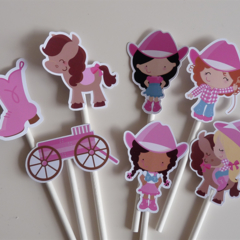 10x Cowgirl cupcake toppers - Cowboy Party Favour, Pink Western Party Decor