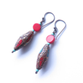 Tibetan drop red and turquoise drop earrings