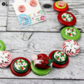 CHRISTMAS - Santa Hat in Holly - Button Necklace and Earrings