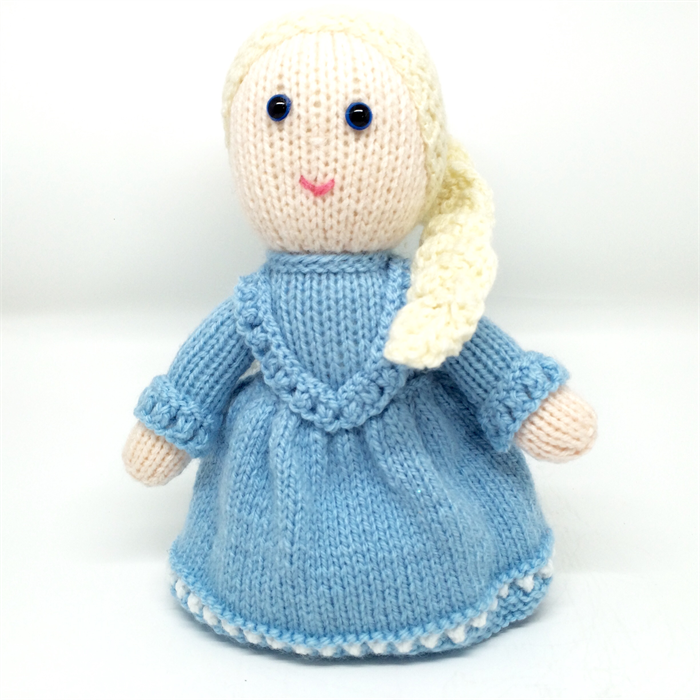 Miss Elsa:- hand knitted doll, softie. Made by LT madeit.com.au