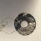 Black matt porcelain 6cm donut pendant, .999 fine silver inlay, scraffito design