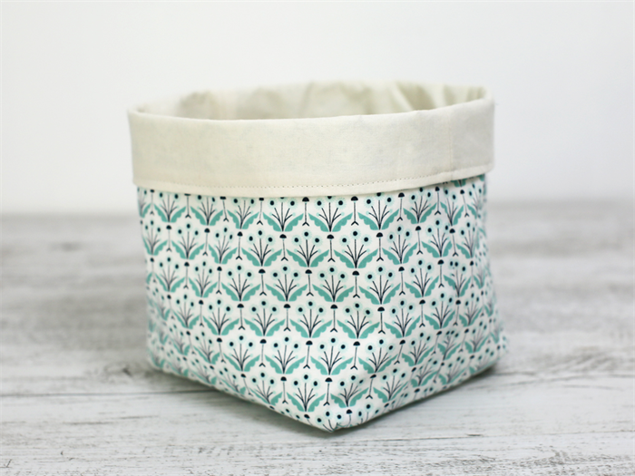 Large Reversible Fabric Storage Basket In Mint Flower Pattern