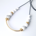 Howlite Gemstone & Gold Ceramic Necklace
