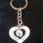 Hand Stamped Personalised Heart Key ring with Charm & Stone.