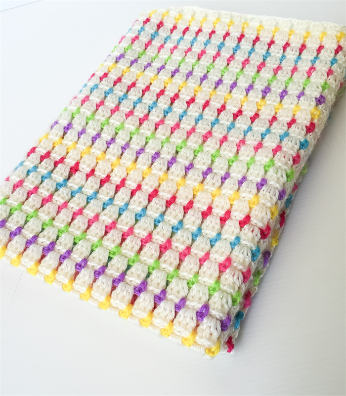 Candy Crush Rainbow And White Crochet Blanket Cuts With Kylie