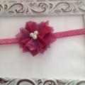 Plum Chiffon  and Lace Flower Headband. Made to size
