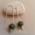 Argentium Sterling Silver & cool dark olive glass bead earrings