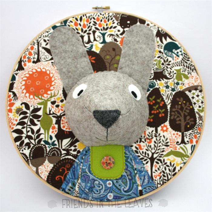 Custom rabbit embroidery hoop wall art 3D portrait 3D wall artnursery decor & Custom rabbit embroidery hoop wall art 3D portrait 3D wall art ...