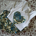 Nappy Cover & Singlet Set, Size 0000. Blue Paisley. Newborn. Bloomers.
