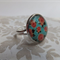 Turquoise and Salmon Flower Glass Ring -Silver adjustable ring