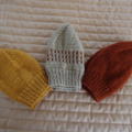 *Special * 3 beanies: Size1-3yrs, Hand knitted Beanie in Mustard, Camel, Brown