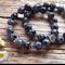 Snowflake Jasper Gemstone & Tibetan Bead Bracelet Set