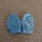 *Special * 2 beanies: Newborn hand knitted Beanie; Blue , Blue/White/Purple