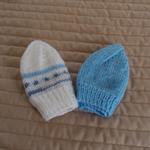 *Special * 2 beanies: Newborn hand knitted Beanie; Blue , Blues & White