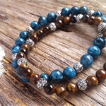 Blue Sea Sediment Jasper & African Roar Tiger's Eye Gemstone Bead Bracelet Set