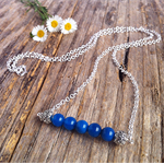 Blue Agate Gemstone Sterling Silver Bar Necklace