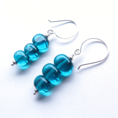 Oval green/blue glass sterling silver dangle earrings