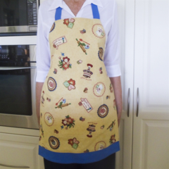 SALE - Full Apron - womens lined retro apron with pocket