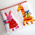 Large Pouch in Colourful Animal Print Cotton Drill Fabric