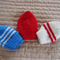 *Special * 3 beanies: Newborn hand knitted Beanie; Blue/White, Red, White/Red