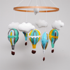 Bright Hot Air Balloons - Baby Mobile - Made-to-order