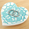 Turquoise porcelain heart ring dish, ring bowl, ring holder. Ceramic bowl.