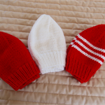 *Special * 3 beanies: Size 6-12mths knitted Beanie; White, Red/White, Red