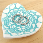 Turquoise porcelain heart ring dish, ring bowl, ring holder. Ceramic bowl.