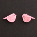 Pink Glitter Birdies~Laser Cut Stud Earrings