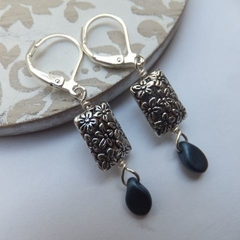 Silver Etched Flower and Navy Blue Perciosa Pip Bead Earrings
