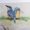Azure Kingfishers greeting card Australian wildlife art