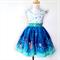 LAST CHANCE!!Wee Wander Girls Dress Size 1 to 3, blue, white, fireflies, big bow
