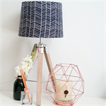 Navy Chevron fabric lampshade with wooden base