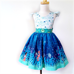 LAST CHANCE!!Wee Wander Girls Dress Size 1 to 3, blue, white, fireflies, big bow