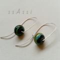 Argentium Sterling Silver & lampwork glass bead earrings