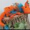 Felt wool Frilled neck orange and turquoise Dragon pose able art doll plush toy