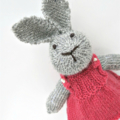 Bella the Knitted Grey Bunny Rabbit Toy with Pink Party Dress